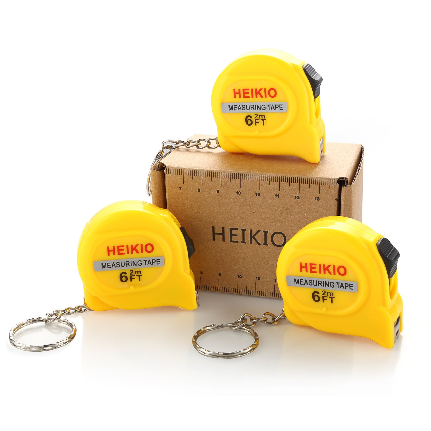 HEIKIO 3-Pack Measuring Tape 6FT/2M, with Belt Clip and Key Chain, Accurate Metric and Inch Scale, Clear Mark for DIY and Daily Family Use - Locking Mini Tape Measure 17001