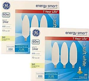 GE Energy-Smart Soft White CFL Candelabra Base, 14W Light Bulbs (60 Watt Equivalent) (14.0 Watt) (6 Bulbs)