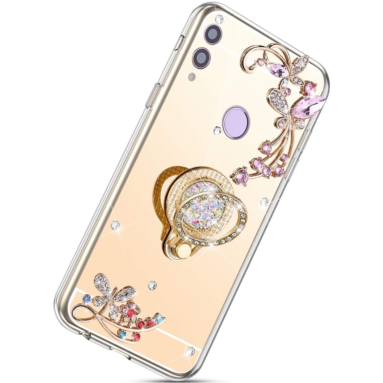 Herbests Kompatibel mit Huawei Honor 8X H/ülle Gl/änzend Diamant Kristall Strass Glitzer Spiegel Schmetterling Blumen Handyh/ülle Silikon Schutzh/ülle Case mit Handy Fingerhalterung,Gold