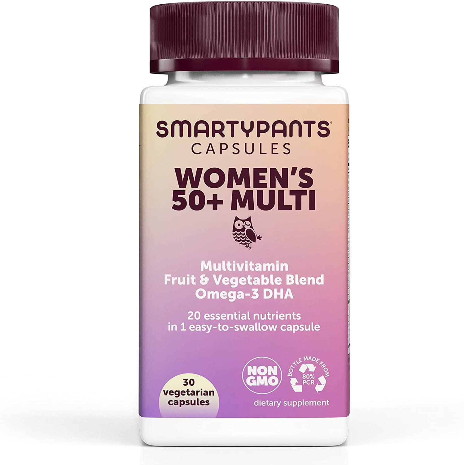 SmartyPants Multivitamin for Women 50+; Omega-3 DHA; Zinc for Immunity; Vitamins D3, C, B6; Biotin, Folate; Vitamin B12 for Energy; Vitamin A for Eyes; Vegetarian (30 Day Supply): Health & Personal Care