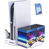 Suporte vertical para Playstation 5 com estação de carregamento por ventilador de resfriamento para PS5 Digital Edition / Con