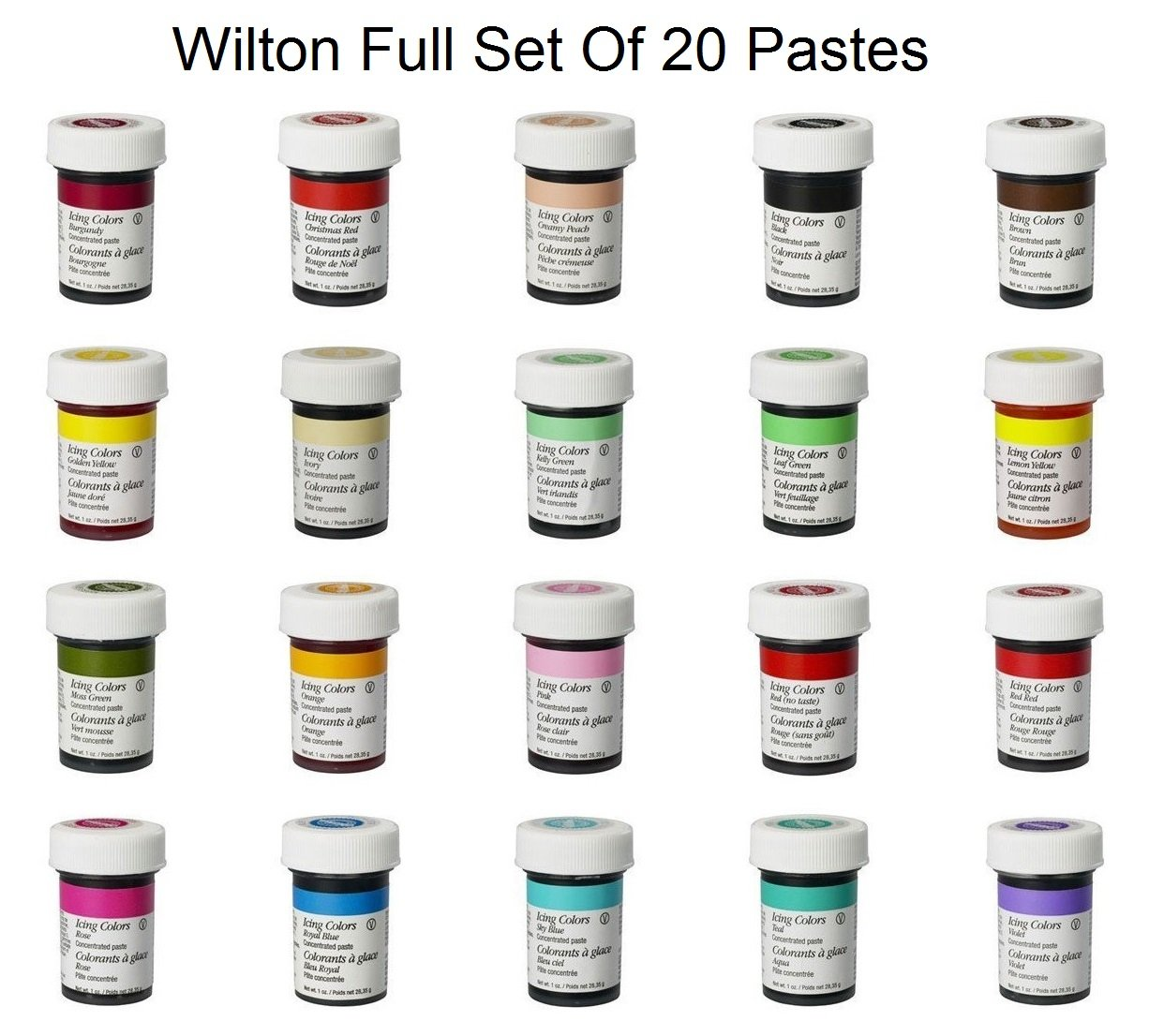 Pme concentrated paste colours for icing sugarpaste fondant and wilton complete set of 20 food gel paste colours perfect for every cake decorator nvjuhfo Choice Image