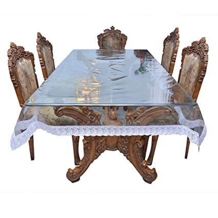 E-Retailer™ Classic Transparent with White Lace 6 Seater Dining Table Cover