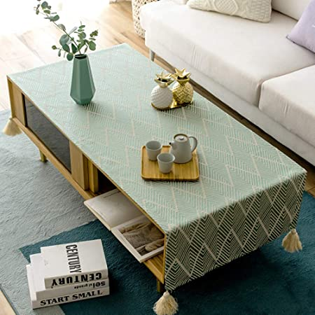 Lydcx Nordic Raye Table Basse Nappe Tissu Style National Coton De Table Retro Gland Moderne Minimaliste Rectangulaire Vert 60x160cm Amazon Fr Cuisine Maison