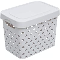 Citylife L-7571 Triangular Design Storage Box with Lid (Tall), 320x220x245mm, Grey