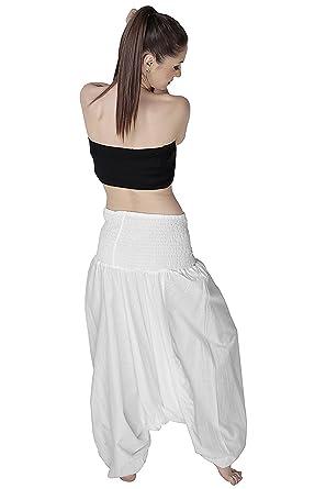 Kiara - Pantalon - Sarouel - Femme L - Blanc - Taille Unique  Amazon ... aeb97aa34886