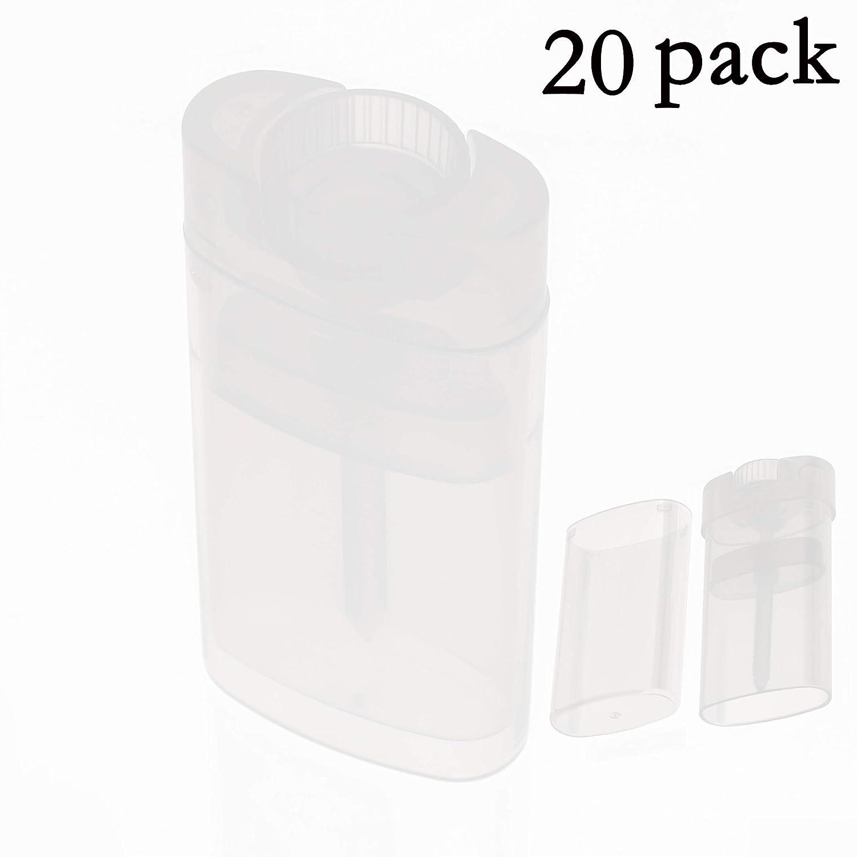 Black Menba® Empty Oval Deodorant Lip Lipstick Balm Tubes Containers Plastic 20PCS 15ML Transparent (15ml, transparent)