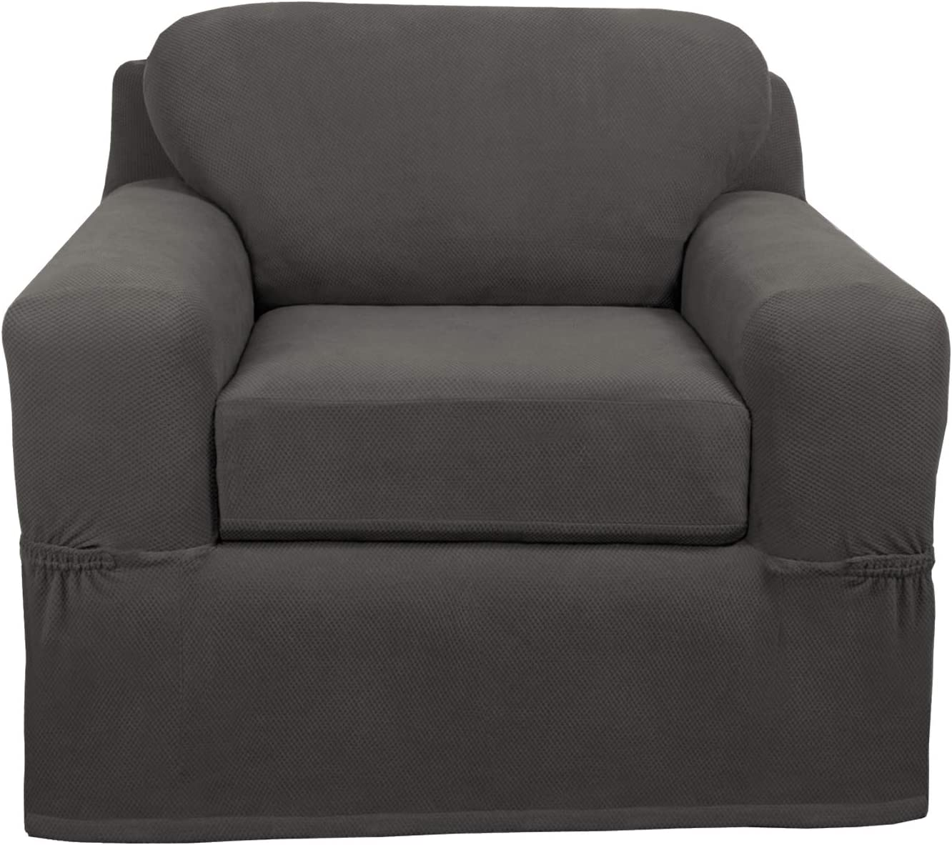 MAYTEX Pixel Ultra Soft Stretch 2 Piece Arm Furniture Cover, Charcoal Grey Chair Slipcover