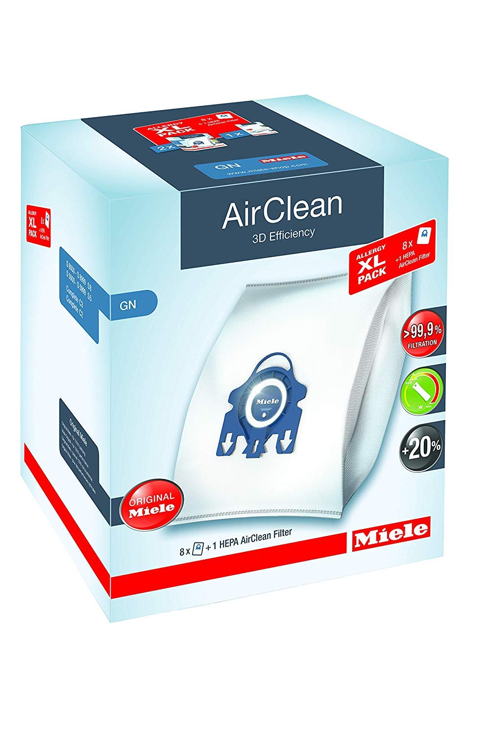 Miele AirClean 3D Efficiency Dust Bag, Type GN, Allergy XL-Pack, 8 Bags, 2 Pre-Motor Filters, and 1 HEPA Filter by Miele