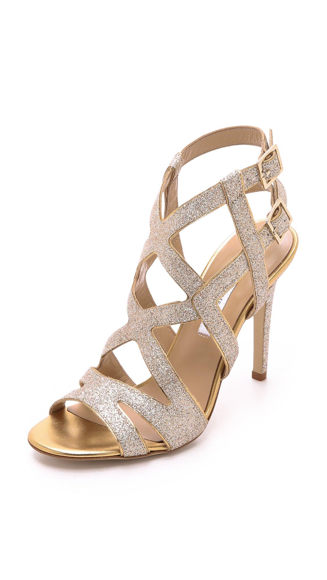 Diane von Furstenberg Women's Valene Gold Fine Glitter/Metallic Nappa 10 B - Medium