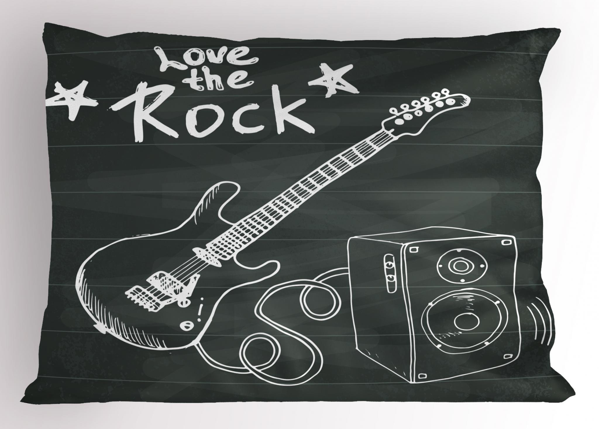 Ambesonne Guitar Pillow Sham, Love The Rock Music Themed Sketch Art Sound Box and Text on Chalkboard, Decorative Standard Size Printed Pillowcase, 26 X 20 Inches, Charcoal Grey White