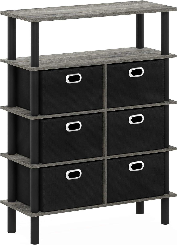 FURINNO Frans Turn-N-Tube Console Table, French Oak Grey/Black/Black