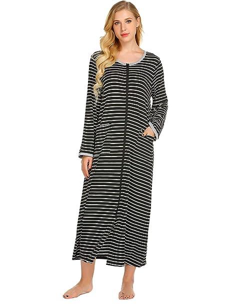 Kisshes Ladies Striped Long Sleeve Nightgown Long Nightdress Loose Homewear  Soft Sleepwear Sleepshirt with Long Zipper and Pockets S-XXL  Amazon.co.uk   ... d257e4f19