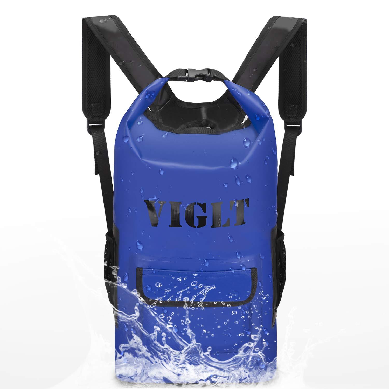 VIGLT Dry Bag Backpack Waterproof Outdoor Dry Bag for Outdoor Water Sports,Kayaking,Camping,Hiking,Travelling,Sailing,Rafting Kayaking,Boating,Fishing,Swimming (Blue Waterproof Bag) by VIGLT
