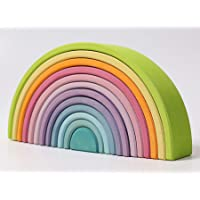 """N&M Products X-Large Giant 12-Piece Rainbow Stacker 14.4"""" - Wooden Nesting Puzzle/Creative Building Blocks"""