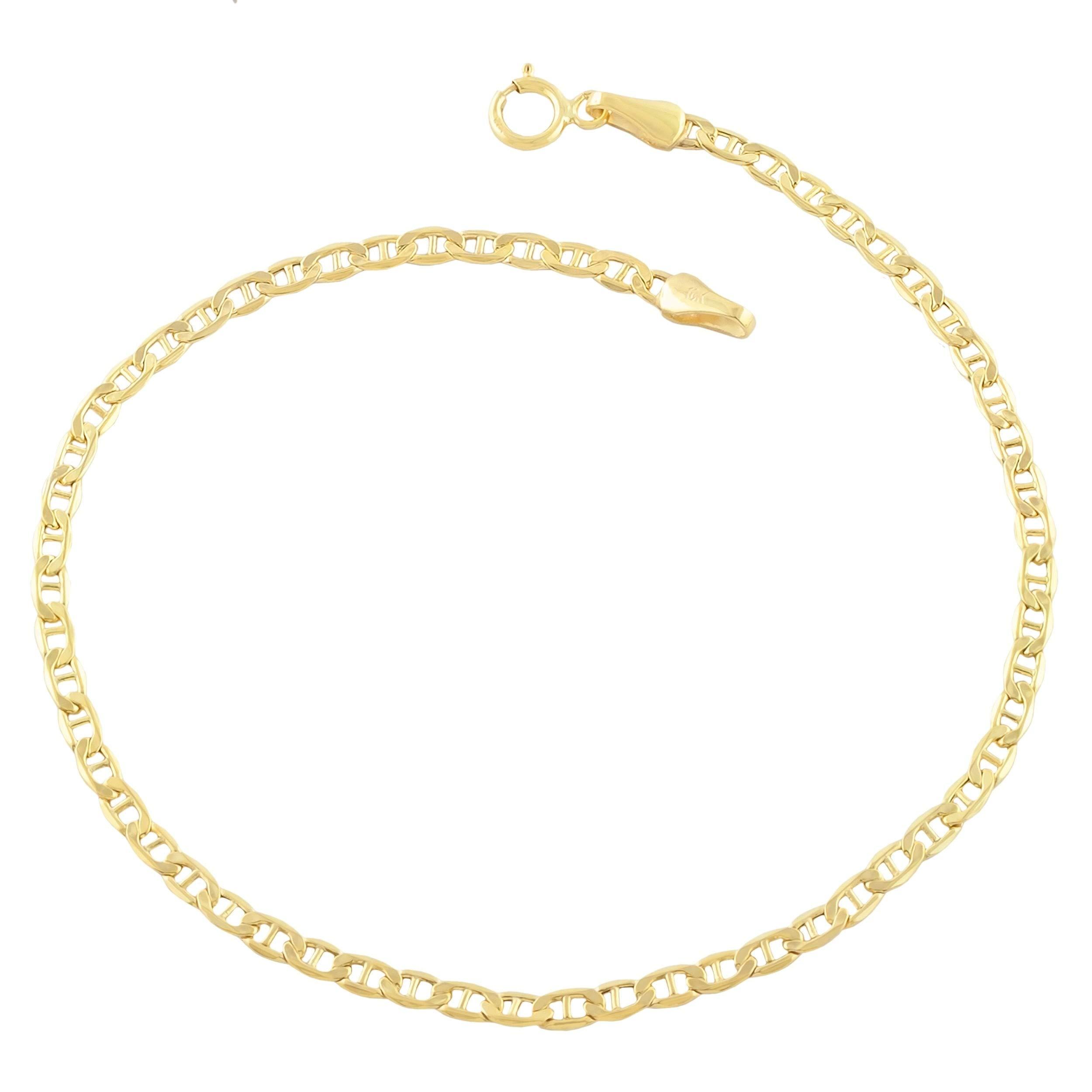 Verona Jewelers 14K Gold Anklets for Women. 14K 10 Inch Anklet, Gold Flat Mariner Anklet, 14K Gold Box Chain (Mariner)