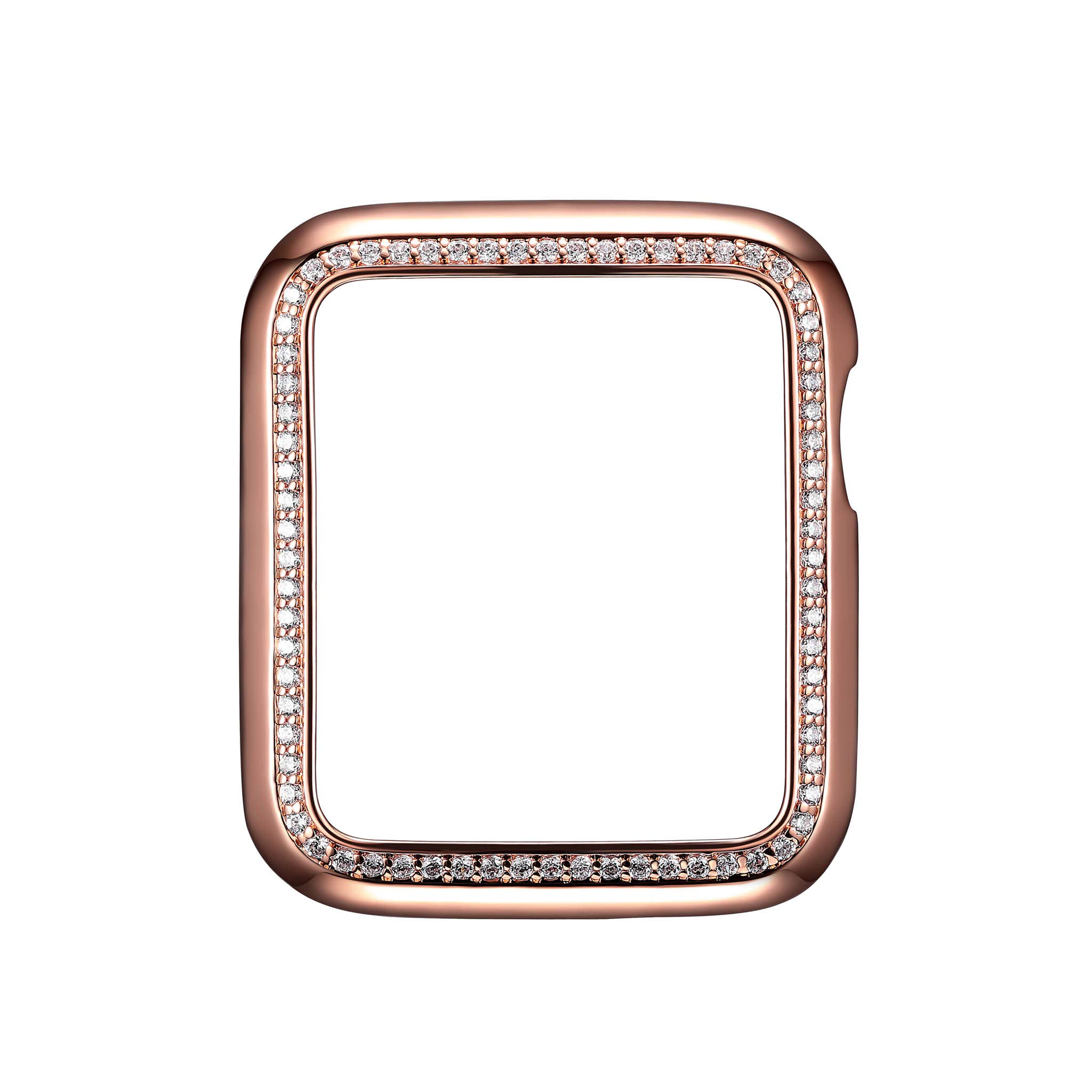 14K Rose Gold Plated Jewelry-Style Apple Watch Case with Cubic Zirconia CZ Border - Small (Fits 38mm iWatch)
