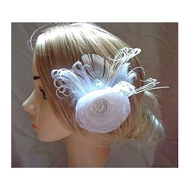 Jelinda Damen Weiße Blume Feder Hochzeit Braut Haar Clip Fascinator ...