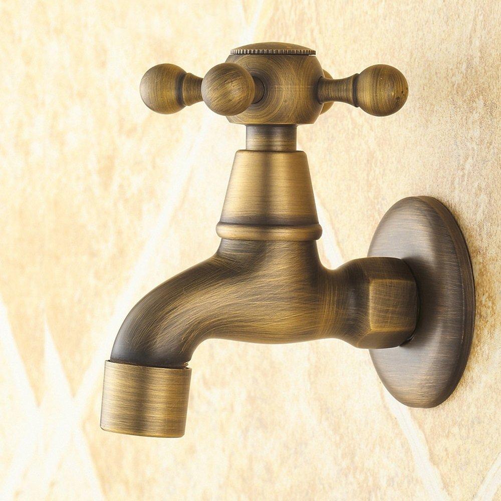 Antique Brass Single Cold Tap European Antique Washing Machine Faucet Mop Towel Faucet Full Copper Single Cooled Wall Faucet Retro Faucet Lengthened Single Cold Faucet Washing Machine Faucet Kitchen S