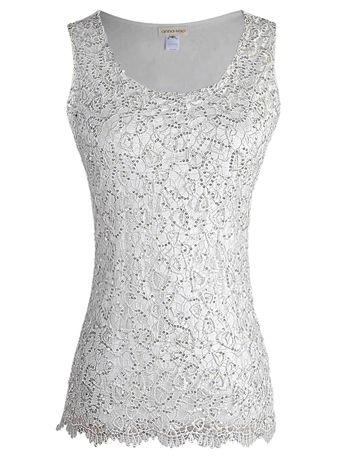 1920s Style Blouses, Shirts, Sweaters, Cardigans Anna-Kaci Womens Sparkly Lace Embroidery Sequin Sleeveless Shell Vest Tank Top $25.99 AT vintagedancer.com