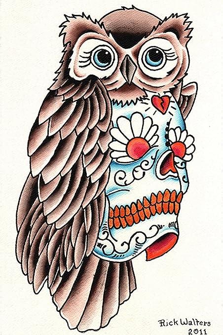 Owl Sugar Skull By Rick Walters Old School Tattoo Design Framed Art
