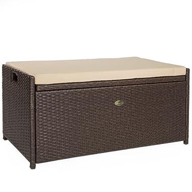 Barton Outdoor Storage Bench Rattan Style Deck Box w/Cushion, 60-Gallon
