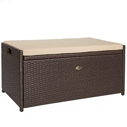 Barton Outdoor Storage Bench Rattan Style Deck Box W/Cushion, 60 Gallon