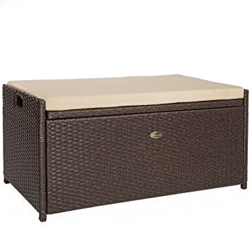 Barton Outdoor Storage Bench Rattan Style Deck Box W/ Cushion, 60 Gallon
