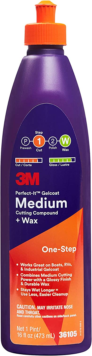 3M Perfect-It Gelcoat Medium Cutting Compound + Wax (36105) – for Boats and RVs - 1 Pint – 16 Fluid Ounces