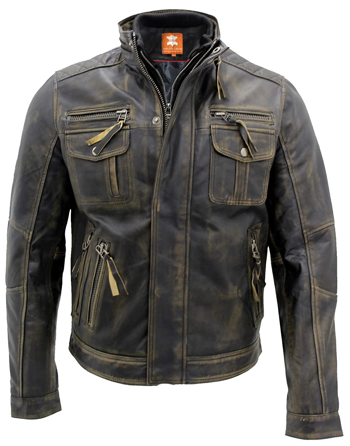 Biker Style, Motorcycle, Cafe Racer, Brown Distressed Leather Jacket Men Leather Mania ●→ hgh-001