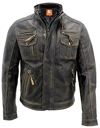 73fc9437c Biker Style Motorcycle Cafe Racer Distressed Leather Jacket for Sale On  Amazon