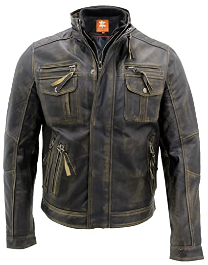 Biker Style Motorcycle Cafe Racer Distressed Leather Jacket For Sale