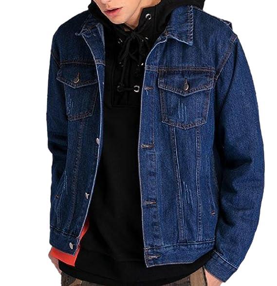 Amazon.com: VITryst-Men Rider Style - Chaqueta vaquera de ...