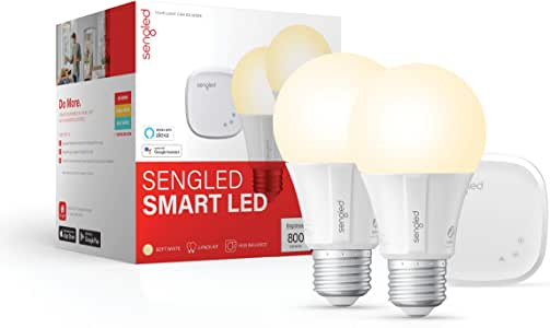 Sengled Smart light Bulb Starter Kit, Smart Bulbs that Work with Alexa & Google Home, Smart Bulb Support 2.4G&5G, A19 Alexa Light Bulbs, Smart LED Soft White Light, 9W, 2 Smart Bulbs & 1 Smart Hub