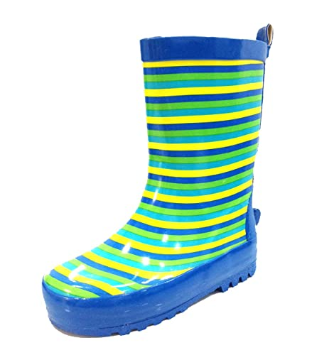 Amazon.com | Toddler and Little Kids Boys Blue Striped Rain Boots ...