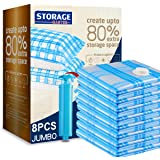 Storage Master Vacuum Storage Bags, 8 Jumbo Vacuum Sealer Space Saver Bags for Clothes, Comforters and Blankets (8 Jumbo)