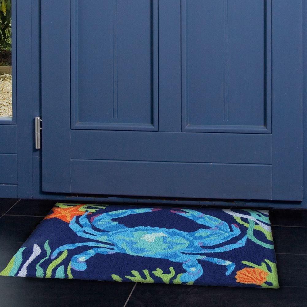 Jellybean Deep Blue Crab Coastal Indoor//Outdoor Machine Washable 21 x 33 Accent Rug