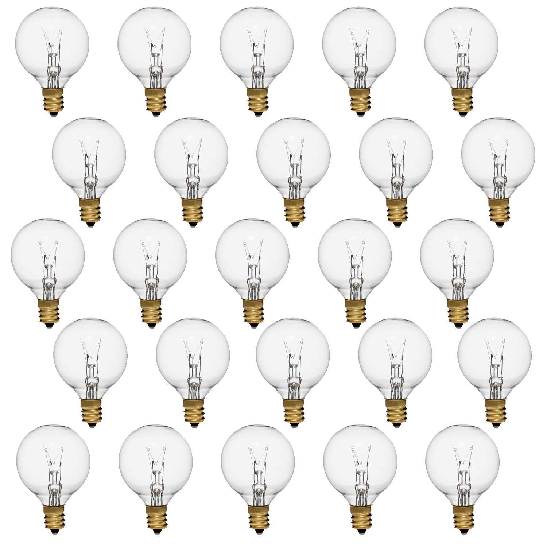 Small Light Bulbs, Clear G40 Replacement Globe Bulbs with Candelabra Screw Base, E12 Candelabra Base,String Light Bulbs-25Pack