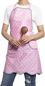 NEOVIVA Kitchen Bib Aprons for Women with Pockets, Lightweight Cooking Apron for Girls, Style Wendy, Polka Dots Pink