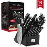 19-Piece Premium Kitchen Knife Set With Wooden Block | Master Maison German Stainless Steel Cutlery With Knife Sharpener…