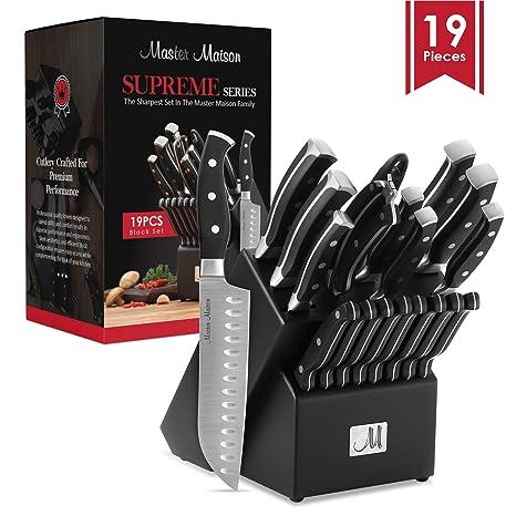 Amazon.com: Master Maison - Juego de cuchillos de cocina de ...