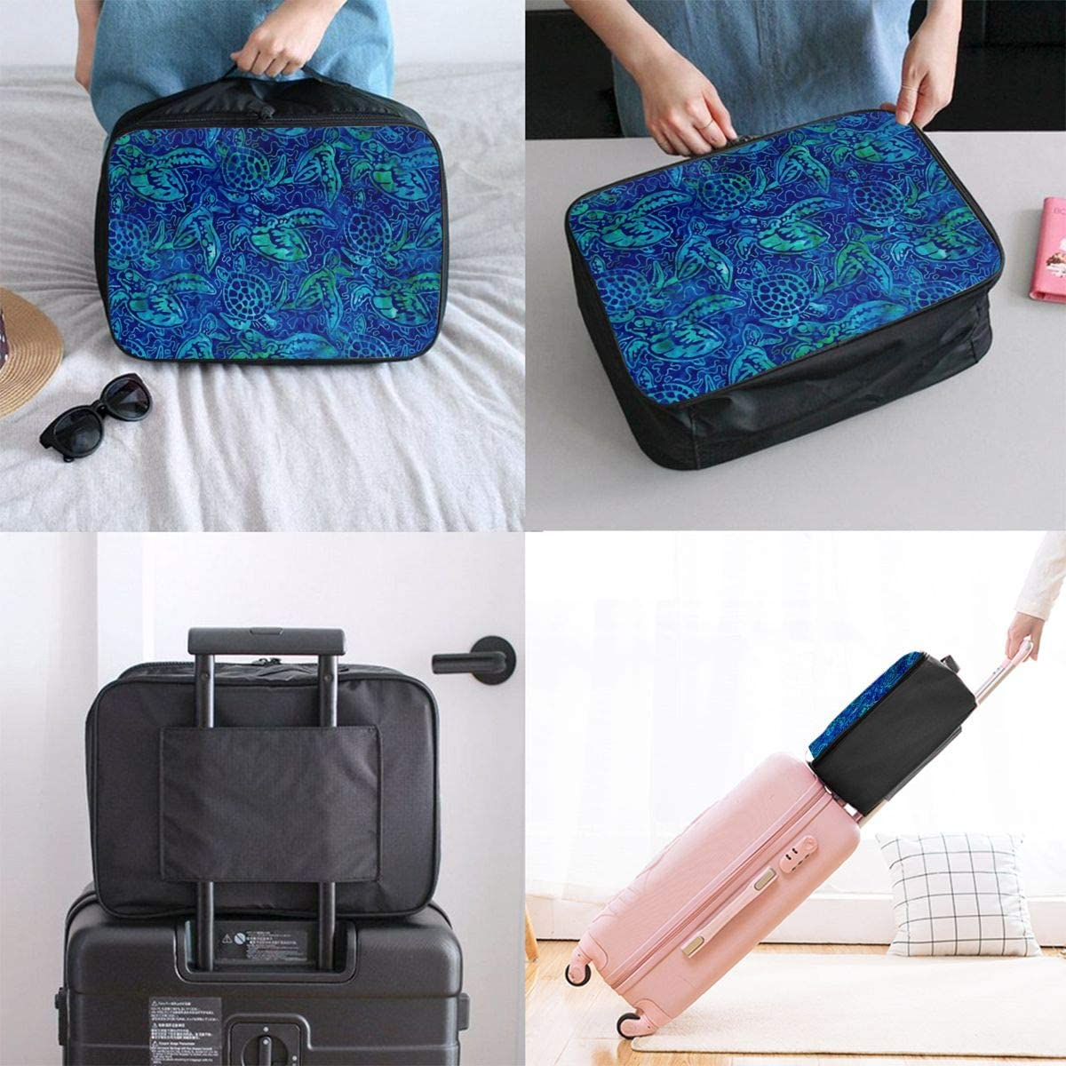 Pattern Travel Carry-on Luggage Weekender Bag Overnight Tote Flight Duffel In Trolley Handle