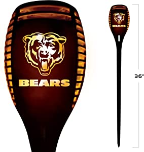 NFL Chicago Bears 36 Inch Tall LED Torch Light - Emulates Flickering Flames - Auto On & Off Outdoor Waterproof Landscape Lighting Decoration - Security Light for any Patio, Yard & Walkway