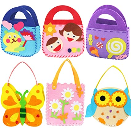 5db993f81 Image Unavailable. Image not available for. Color: Dsaren 6 Pack Children  Sewing Kit, Kids Beginners Felt Craft Kit Fabric DIY Crafts Handbag