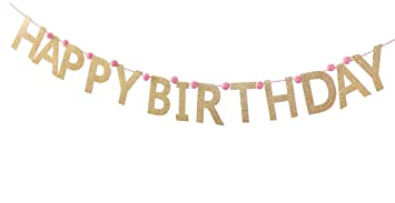 Amazon.com : Mud Pie Banner, Glitter Happy Birthday Pennant Banner ...
