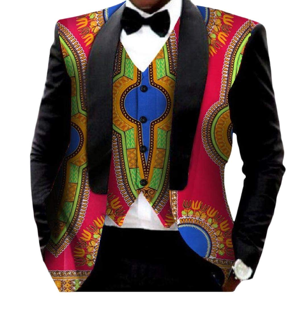 Young2 Mens Vest Blazer 2pcs-Set African Print Slim Fitted Suit Jacket 23 M