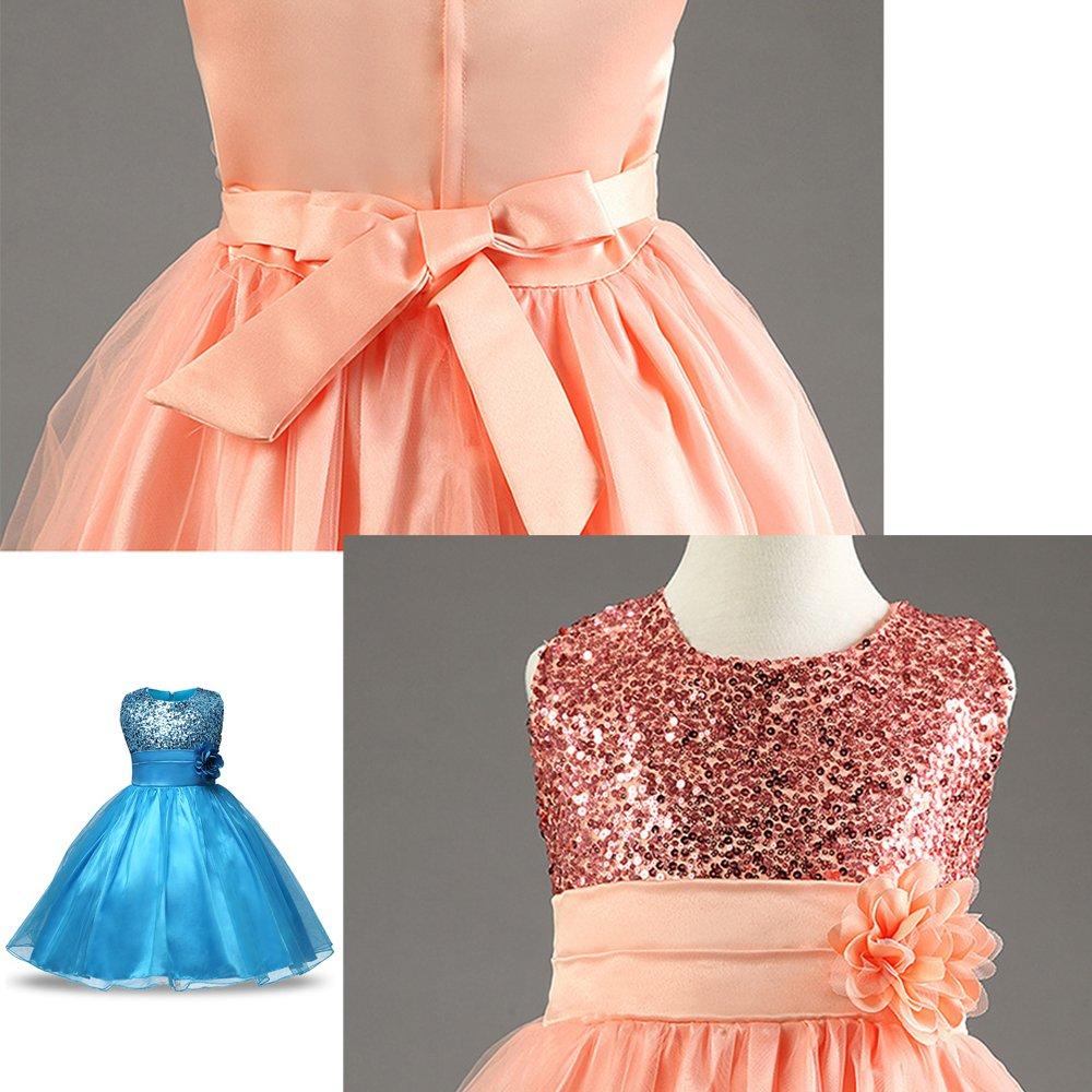 XFentech Petite B/éb/é Fille C/ér/émonie//Mariage Costume sans Manches Paillett/és Fleur Robe de Princesse
