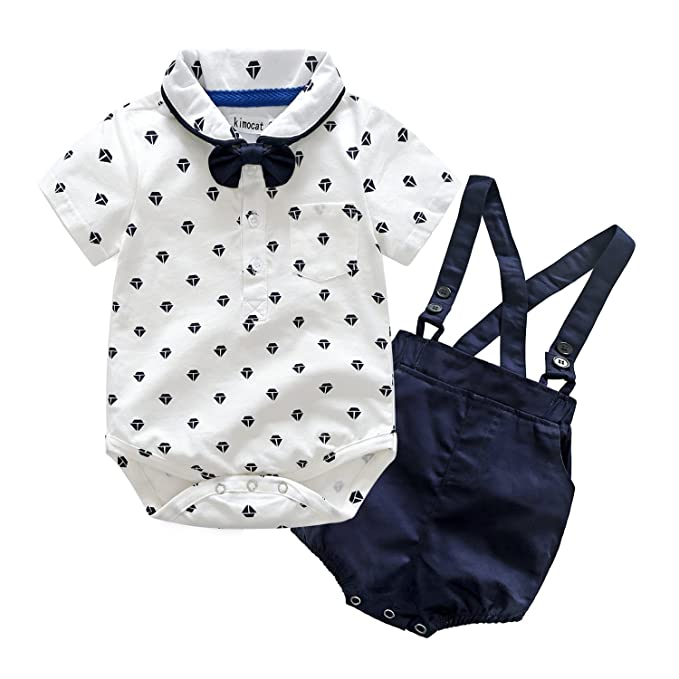 Kimocat Gentleman Suspender Outfits Suit for Toddler Boys 3Pcs Cotton  Bodysuit Bowtie Shorts with Straps ( c41054741