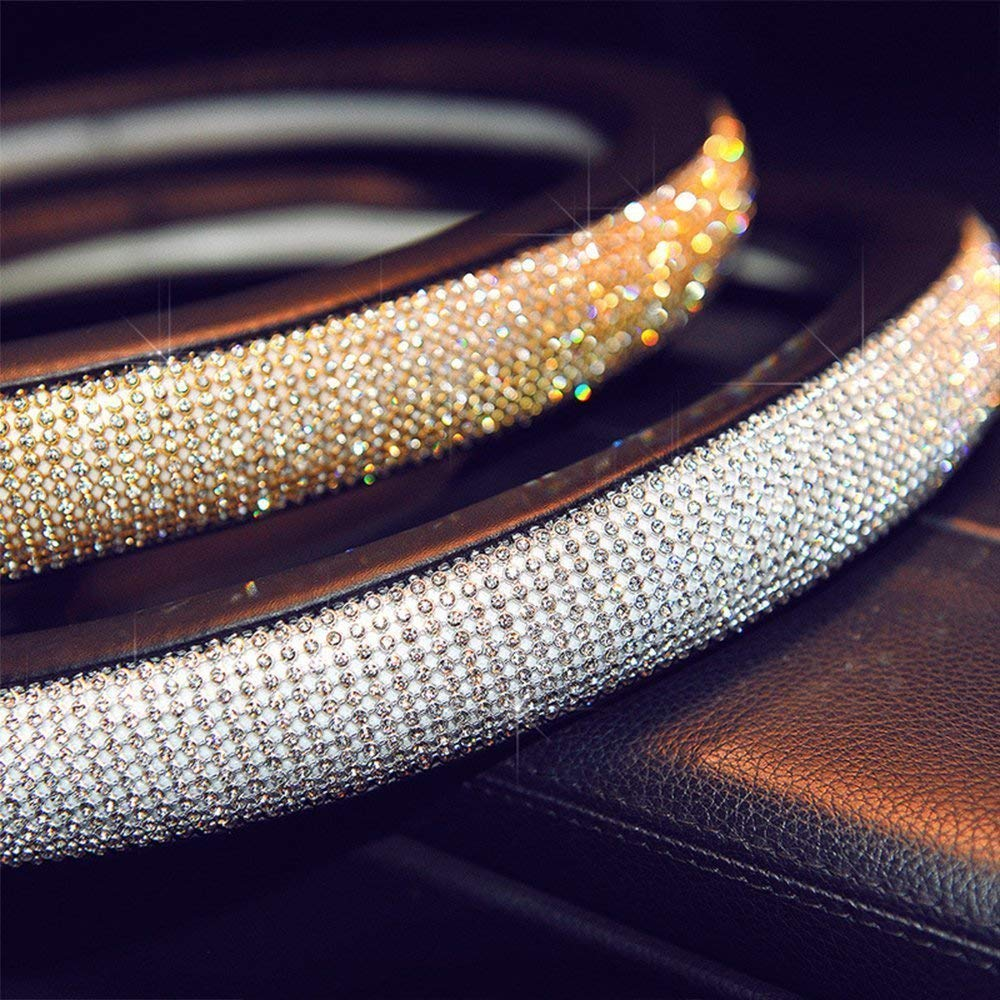 AUTOYOUTH PU Leather Car Steering Wheel Cover with Crystal Rhinestones Bling Bling Silver Universal Fit