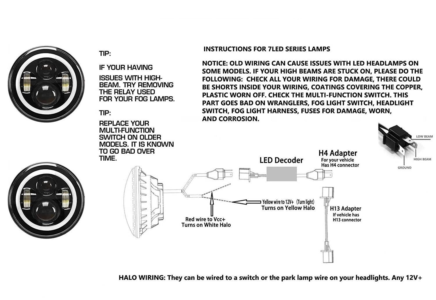 Halo Lamp Wiring Diagram Detailed Schematics Diagrams Amazon Com 2pcs 7 Inch Led Round Lights Angel Eye Headlight